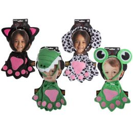 24 Units of Costume Kids Animal Set Headband & Gloves 4ast/face Tie On Card - Costumes & Accessories