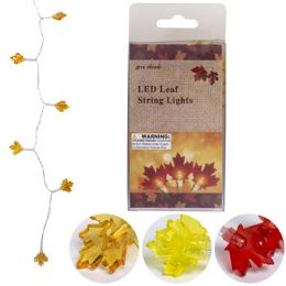 48 Units of Harvest Leaves 10 Led String Lights 4ft 3ast Clrs/2aa Battop - Halloween & Thanksgiving