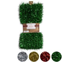24 Units of Garland Tinsel 50ft Christmas 4asst Colors Wrapcard/peggable - Hanging Decorations & Cut Out