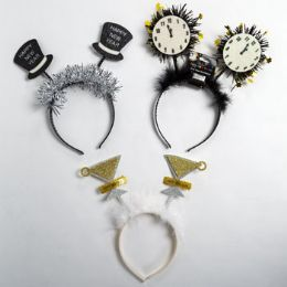 24 Units of Headband New Year 3ast W/feather Or Tinsel Hat/clock/glass Ny Hdr - Costumes & Accessories
