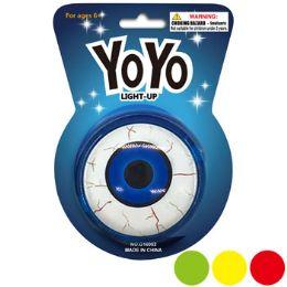 48 Units of YO-Yo Lightup W/eyeball Design 4asst Colors/blister Card - Toys & Games