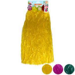 24 Units of Luau Hula Skirt Adult Plastic W/flower Band 3ast Clrs 27.5in - Costumes & Accessories