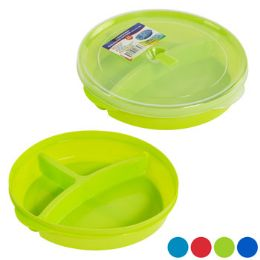 48 Units of Plate 3-Sec W/lid & Microwave Vent 4 Color Bottoms/clear Lid - Microwave Items