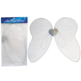 24 Units of Angel Wing Costume White W/heart Icon & Glitter 18.9 X 16.5in - Costumes & Accessories