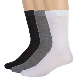 100 Units of Men's Cotton Crew Socks- Assorted 3 Color - Womens Ankle Sock