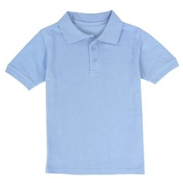 24 Units of Kid's Short Sleeve Polo - Light Blue- Size 14-16 - Apparel