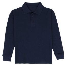 24 Units of Kid's Long Sleeve Polo - Navy- Size 7-8 - Apparel