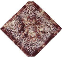 120 Units of Brown Tye Dye Bandana - Bandanas