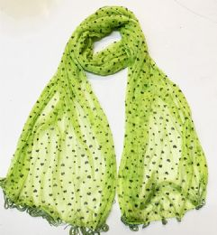 48 Units of Womens Silk Scarf In Assorted Color Heart Pattern - Womens Fashion Scarves