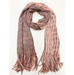 24 Units of Women Double Winter Layer Scarf In Assorted Color - Winter Scarves
