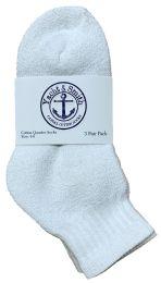 240 Units of Yacht & Smith Kids Cotton Quarter Ankle Socks In White Size 4-6 Bulk Pack - Boys Ankle Sock