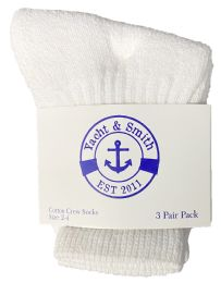 240 Units of Yacht & Smith Kids Value Pack Of Cotton Terry Crew Socks Size 2-4 White - Boys Crew Sock