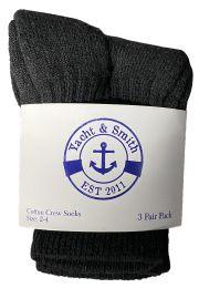 240 Units of Yacht & Smith Kids Value Pack Of Cotton Crew Socks Size 2-4 Black Bulk Pack - Boys Crew Sock