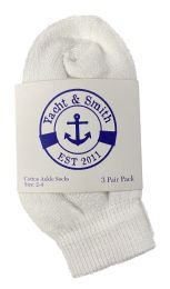 240 Units of Yacht & Smith Kids Value Pack Of Cotton Ankle Socks Size 2-4 White - Boys Ankle Sock