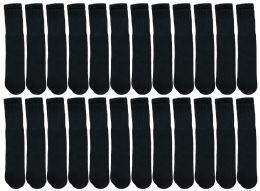240 Units of Yacht & Smith Kids Black Solid Tube Socks Size 4-6 Bulk Pack - Boys Crew Sock