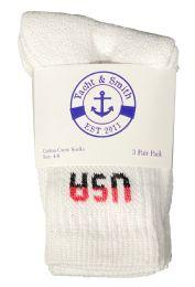 240 Units of Yacht & Smith Kids Cotton Usa Crew Socks White Sock Size 4-6 - Boys Crew Sock