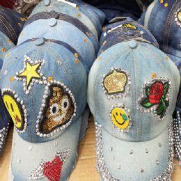 36 Units of Happy Face Bling Denim Ball Cap Assorted - Baseball Caps & Snap Backs