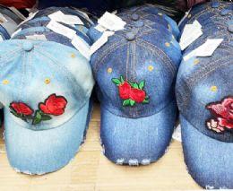60 Units of Flower Denim Ball Cap Assorted - Baseball Caps & Snap Backs