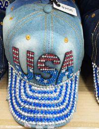 60 Units of USA Bling Bling Lady Denim Ball Cap - Baseball Caps & Snap Backs