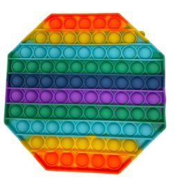 12 Units of Rainbow Octagon Bush Pop It - Fidget Spinners