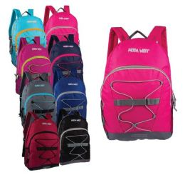 """24 Units of 17"""" Bungee Sport Backpacks with Side Mesh Water Bottle Pockets in 8 Assorted Colors - Backpacks 17"""""""