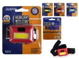 144 Units of Cob Headlight W/ Strap - Lightbulbs