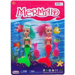 """72 Units of 2PC 5.5"""" MERMAID DOLLS W/ ACCSS ON BLISTER CARD, 3 ASSRT CLRS - Dolls"""