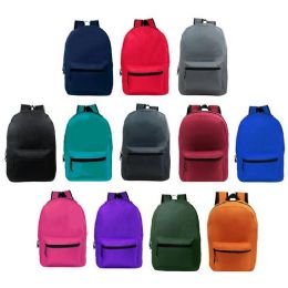 """24 Units of 15 Inch Kids Basic Backpacks in 12 Assorted Colors - Backpacks 15"""" or Less"""