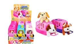 12 Units of Mini Plush Pet In Carrier Puppy - Plush Toys