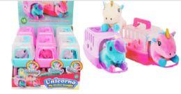 12 Units of Mini Plush Pet In Carrier Unicorn - Plush Toys