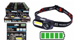8 Units of Rechargeable Cob LED Head Lamp - Lamps and Lanterns