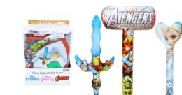 48 Units of Licensed Inflatable Assorted Wand Mallet Shield And Sword - Inflatables