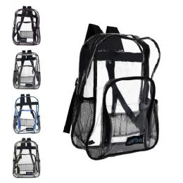 """24 Units of 17"""" Clear Vinyl Piping Backpacks 5 Assorted Colors - Backpacks 17"""""""