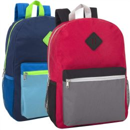 """24 Units of 16 Inch Multicolor Backpack With Side Pocket - Backpacks 17"""""""