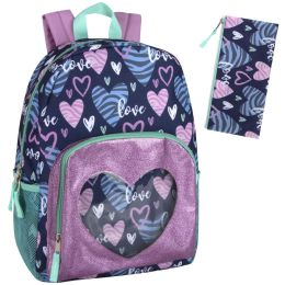 """24 Units of 17 Inch Heart Pattern Backpack - With Pencil Pouch - Backpacks 17"""""""