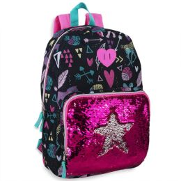 """24 Units of 18 Inch Heart Sequin Backpack - Backpacks 17"""""""