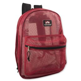 """24 Units of Premium Quality Mesh 17 Inch Backpack - Red - Backpacks 18"""" or Larger"""
