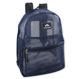 """24 Units of Premium Quality Mesh 17 Inch Backpack - BLUE - Backpacks 18"""" or Larger"""