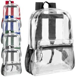 """24 Units of Classic 17 Inch Clear Backpack - 5 Color Assortment - Backpacks 17"""""""