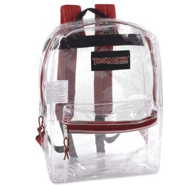 """24 Units of Classic 17 Inch Clear Backpack - Red - Backpacks 17"""""""