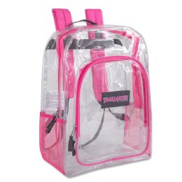 """24 Units of Deluxe 17 Inch Clear Backpack - PINK - Backpacks 17"""""""