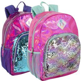"""24 Units of 17 Inch Hologram Sequins Backpack - Girls - Backpacks 17"""""""