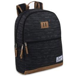 "24 Units of 18 Inch Suede Base Backpack - Black - Backpacks 17"""