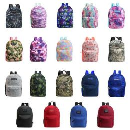 """24 Units of 17"""" Kids Classic Padded Backpacks in Assorted Prints and Colors - Backpacks 17"""""""