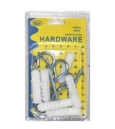 144 Units of 12PC 12MM HOOKS WITH ANCHORS - Hardware Products