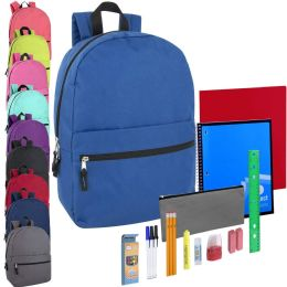 24 Units of Preassembled 17 Inch Backpack & 20 Piece School Supply Kit - 10 Color - School Supply Kits