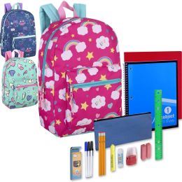 24 Units of Preassembled 17 Inch Printed Backpack & 20 Piece School Supply Kit - Girls - School Supply Kits