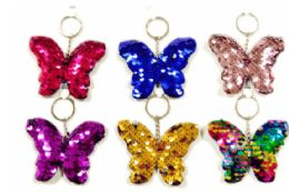 72 Units of Sequin Keychain Butterfly - Key Chains