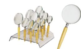 48 Units of Magnifying Glass With Wood Handle Assorted Sizes - Magnifying  Glasses