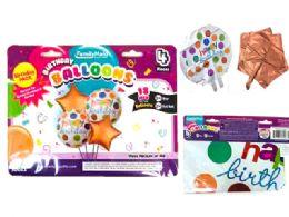 144 Units of 4 Pc Foil Happy Bday Balloon - Balloons & Balloon Holder